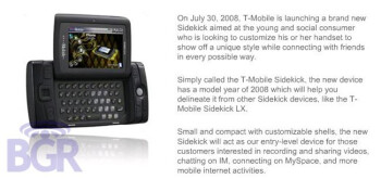 T-Mobile to launch a new Sidekick on 30th of July