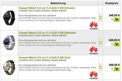 Huawei Watch priced in Germany