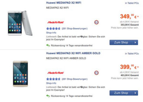 Mediapad X2 is priced in Germany...