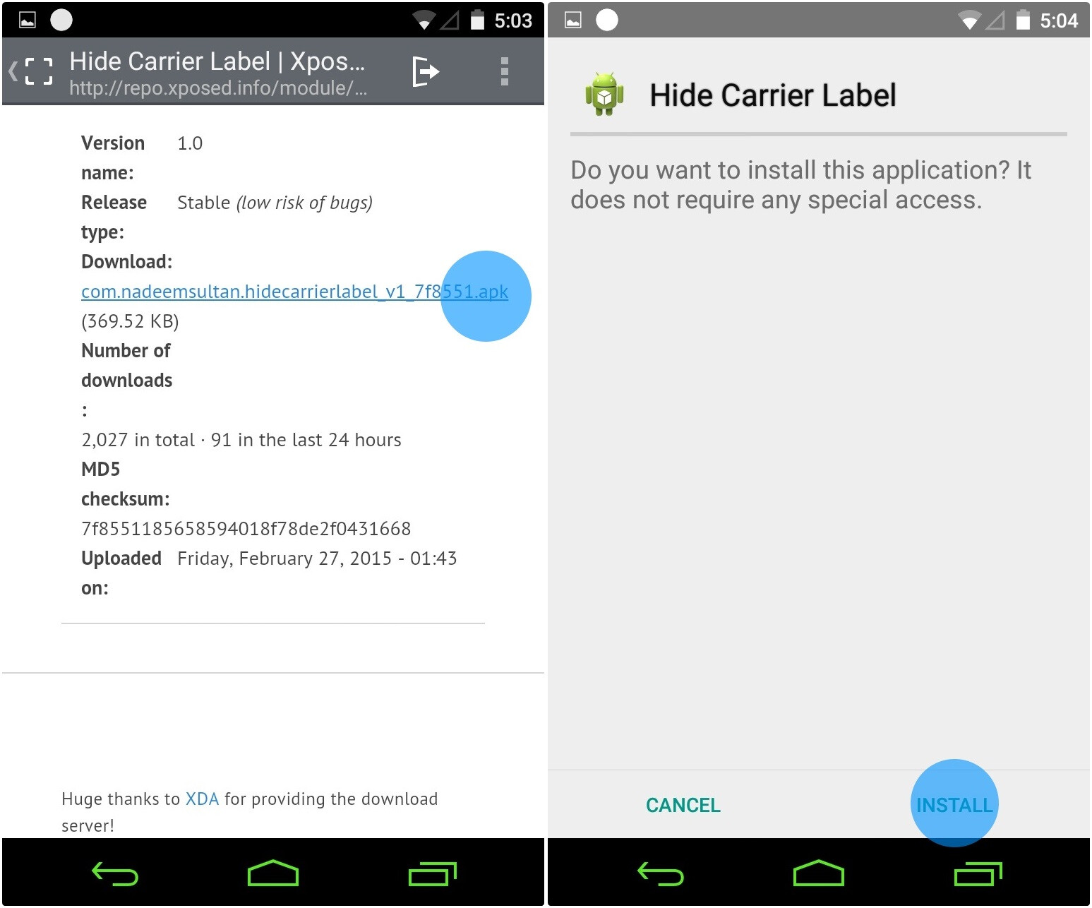 How to hide your carrier label from Android Lollipop's status bar