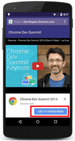 Chrome for Android banner makes it easier to add a web app to your home screen