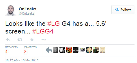 Speculation calls for a 5.6-inch screen on the LG G4 - Rumor: LG G4 to have 5.6-inch Screen