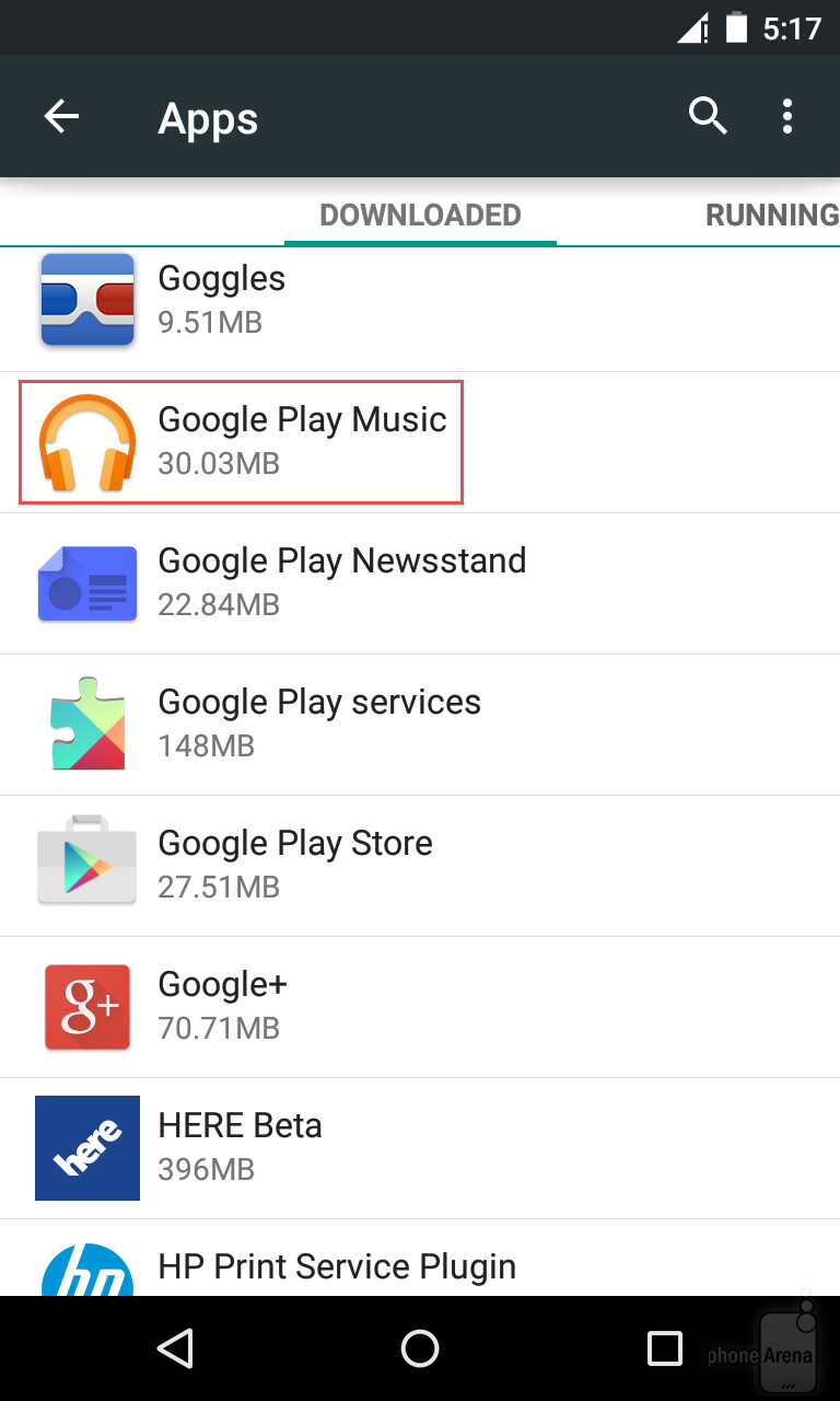 Let's Say Google Play Music Is Misbehaving And You Want To Clear Its Cache  Just Tap