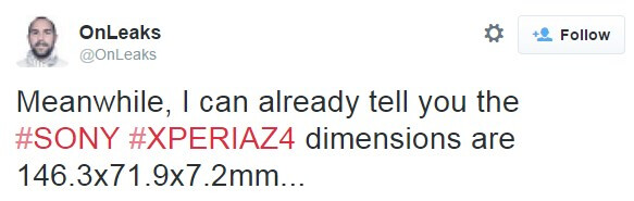 Sony Xperia Z4 dimensions tipped, almost the same as the Z3