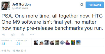 HTC official: One M9 software is not final (thus current benchmark tests aren't relevant)