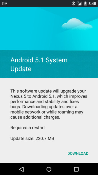 The Nexus 5 is updated to Android 5.1 - Nexus 5 receives OTA update to Android 5.1