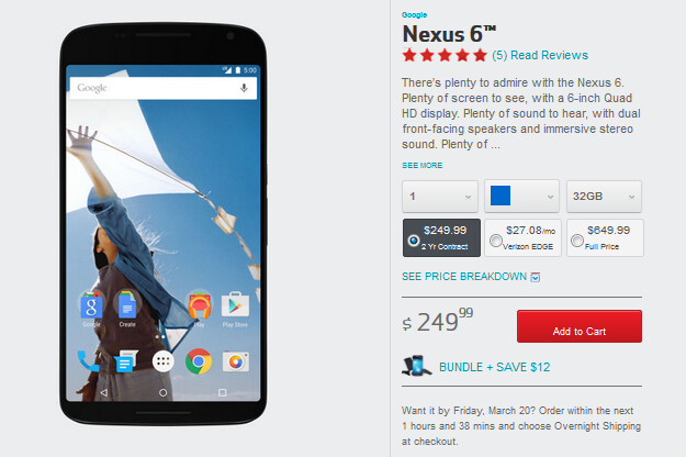 The Nexus 6 can be bought from Verizon online or at Big Red's retail locations - Nexus 6 finally makes it to Verizon stores