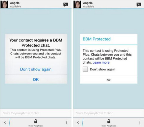 Image on left shows the screen seen by a BBM Protected subscriber while the screen at right is what the non-subscriber sees - BBM Protected offers secure IM chats for iOS, BlackBerry and Android users in the enterprise