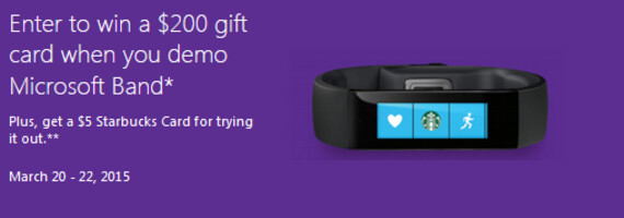 Win a $200 Microsoft gift card by merely trying on the Microsoft Band - Try on the Microsoft Band at a Microsoft Store this weekend and win a $200 gift card (U.S. Only)