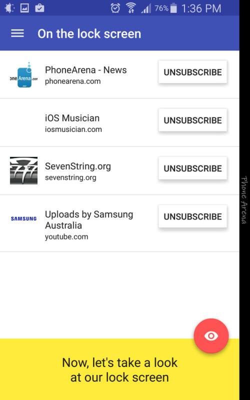 Lock screen subscriptions