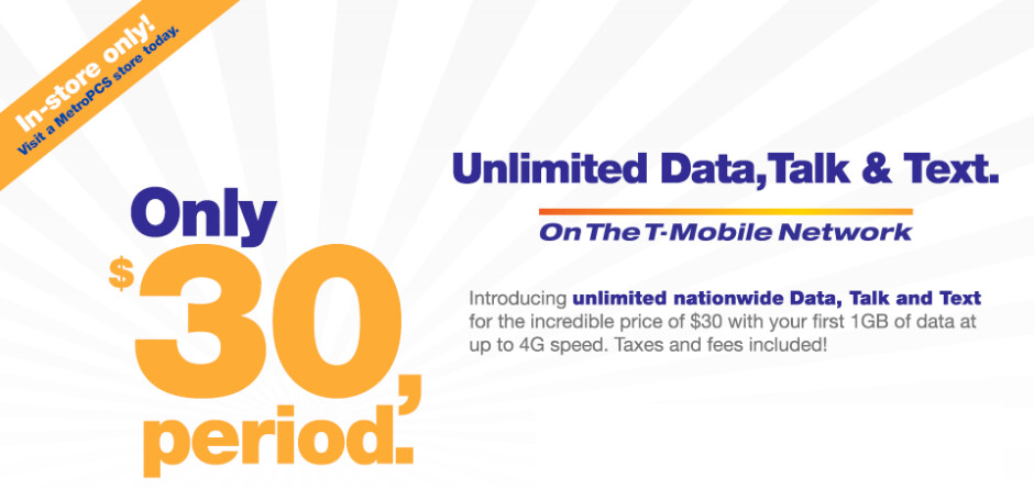 MetroPCS is offering unlimited talk, text and data for $30 a month with a major catch - $30 Unlimited Data plan offered by MetroPCS comes with a major catch