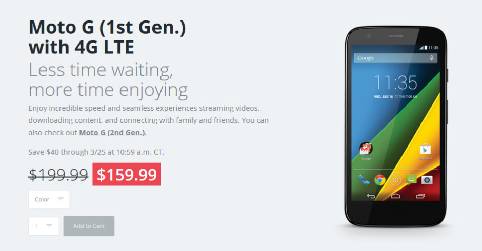 Get the first-gen Motorola Moto G LTE for just $159.99 until tomorrow afternoon - First-gen Motorola Moto G LTE just $159.99 from the manufacturer