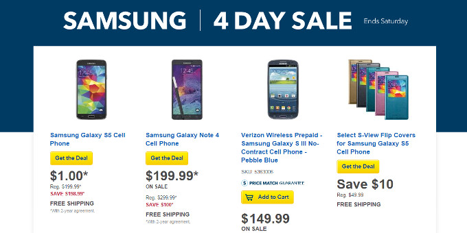 Best Buy promo offers Samsung Galaxy Note 4 for $100 less, Galaxy S5 is free on contract