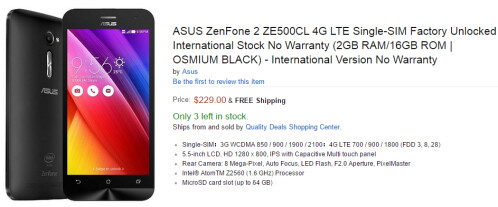 The Asus ZenFone 2 can now be bought via Amazon