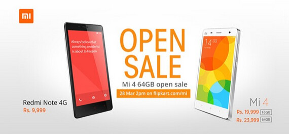 Xiaomi will have the 16GB and 64GB Mi 4 and the Redmi Note 4G available via open sales - Xiaomi to hold more open sales in India starting today; stocks of Xiaomi MiPad are replenished
