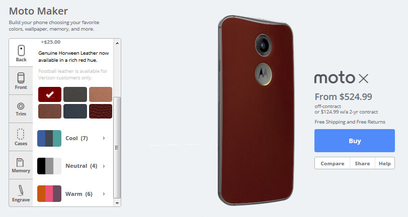Check out the Motorola Moto X in red leather - Second-generation Motorola Moto X available in red leather