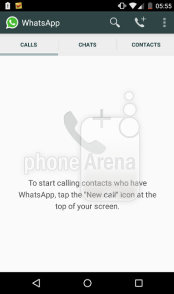 Update to the Android version of WhatsApp adds a new Calls tab