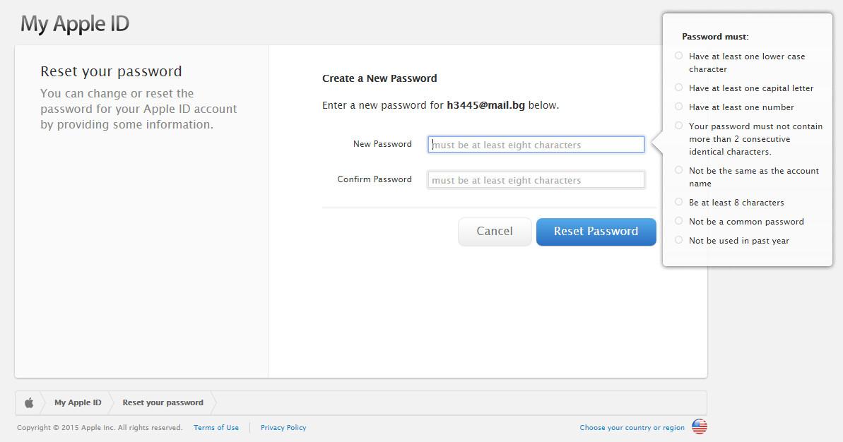 Abbiamo risposto a due domande, e arrivati alla schermata per cambiare la password. Seguire le regole: parola d'ordine deve essere di almeno 8 caratteri, contenere almeno una lettera maiuscola e il numero, ecc