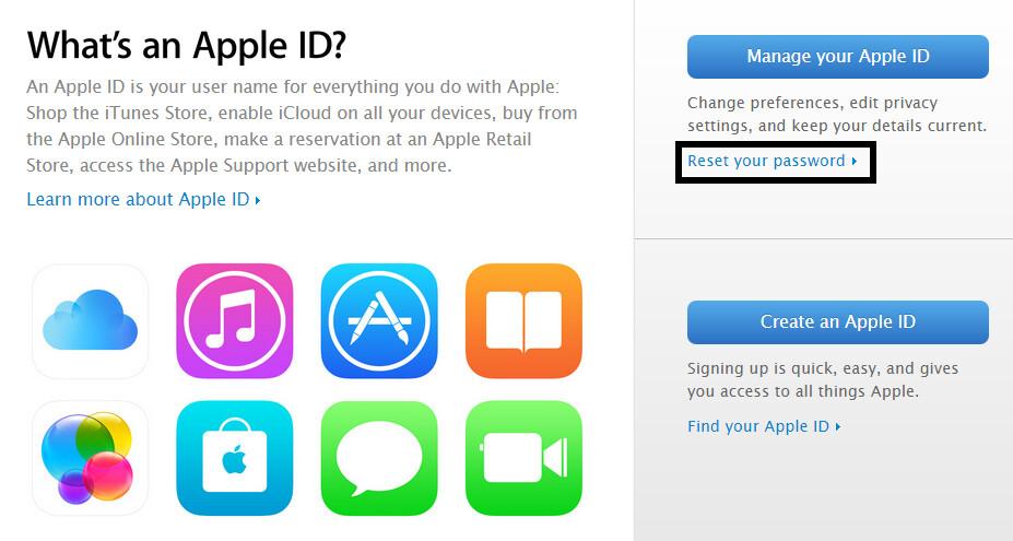 """Proprio sotto il grande 'Gestione di Apple ID' pulsante, c'è un altro legame dire """"Reset Password"""". Fare clic su di esso."""