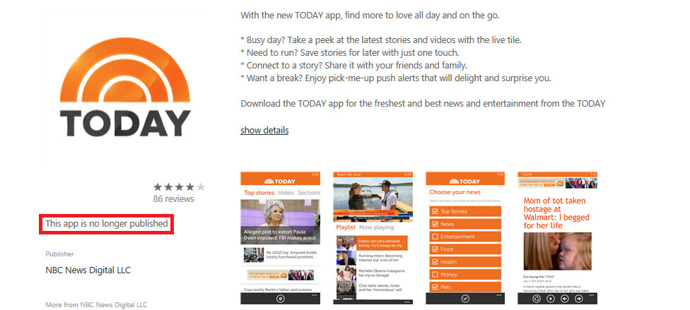 NBC pulls its Today Show app for Windows Phone