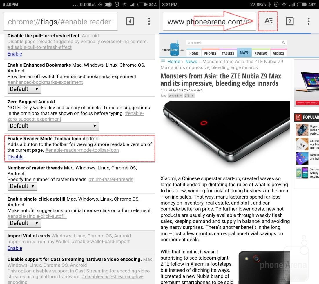 Enable Reader mode