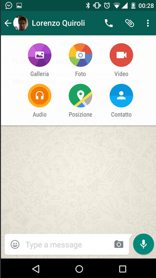 Screenshots from the Material Design version of WhatsApp