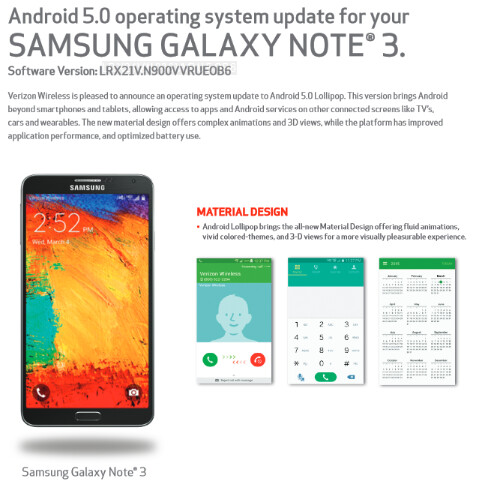 Verizon pushes out Android 5.0 to the Samsung Galaxy Note 3