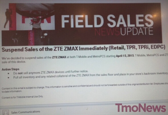 T-Mobile suspends sales of the ZTE ZMAX - ZTE ZMAX sales halted by T-Mobile and MetroPCS as customers try to hack into the battery