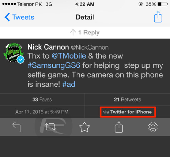 Nick Cannon praises the Samsung Galaxy S6 camera from his iPhone - Nick Cannon uses his iPhone to tweet an ad for the T-Mobile Samsung Galaxy S6