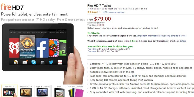 Deal: buy the Amazon Kindle Fire HD 7 today for just $79