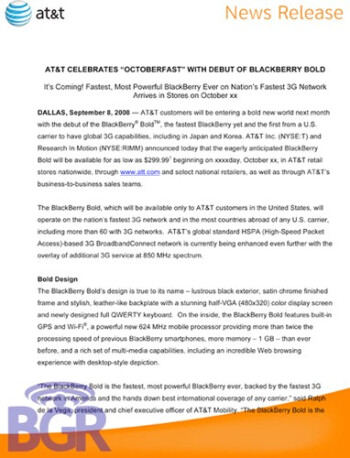 BlackBerry Bold coming to AT&T in October?
