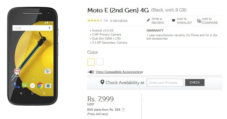 The second-generation Motorola Moto E 4G LTE is now available in India - Second-generation Motorola Moto E 4G LTE available in India today, priced at $127 USD