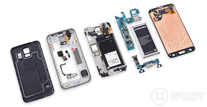 Samsung Galaxy S5 replacement parts (display, touchscreen, battery, home button, ribbons) and where to get them