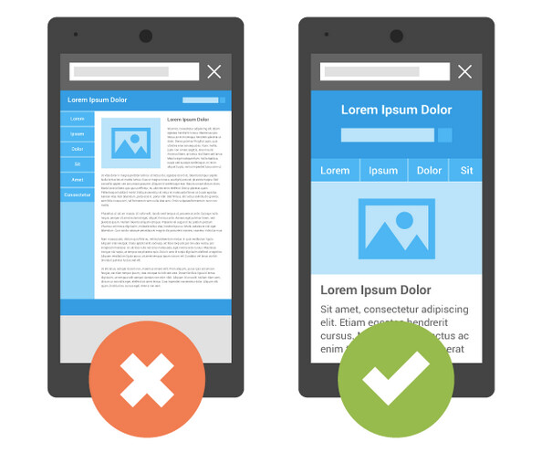 On right, a mobile optimized version of the page at left - Google Search gives higher rankings to mobile-friendly web pages starting today