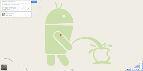 The Android logo is taking a leak over Apple's logo