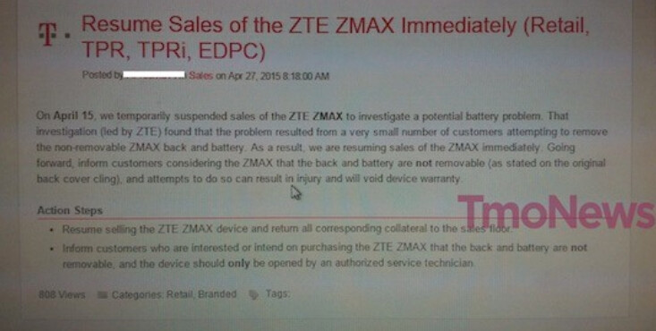 T-Mobile has resumed sales of the ZTE ZMAX - ZTE ZMAX returns to T-Mobile with warning to buyers not to hack the battery