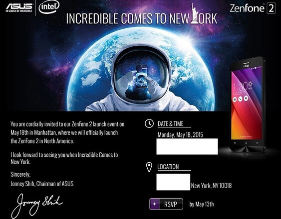 Asus will hold an event on May 18th in New York City to introduce the Asus Zenfone 2 to North America - Asus Zenfone 2 to be unveiled in North America on May 18th