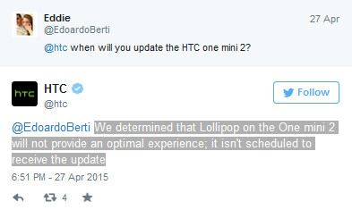 Android 5.0 update is not coming to the HTC One mini 2 - No Lollipop for you! HTC One mini 2 will not be updated