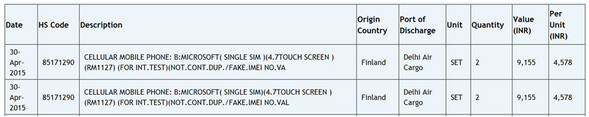 Microsoft imports RM-1127 for internal testing - 4.7-inch Lumia model RM-1127 sent to Microsoft for testing in India