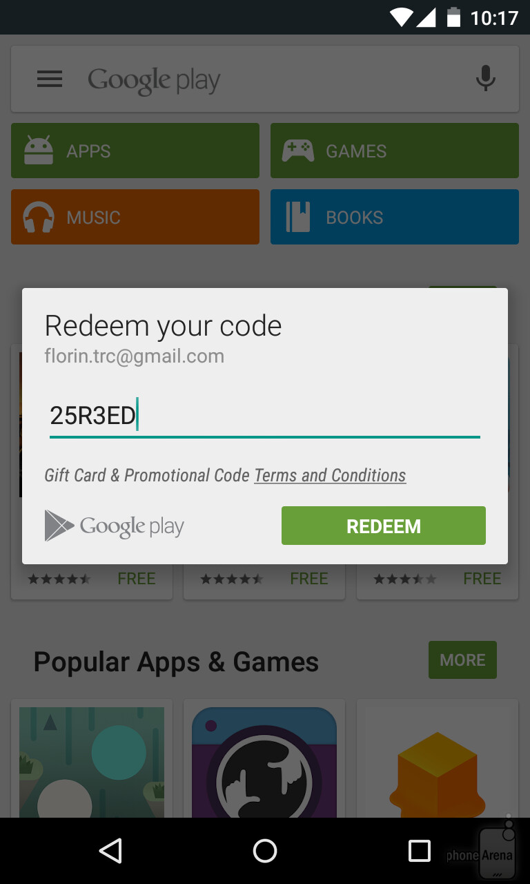 Now You Just Have To Type In Your Google Play Gift Card Code The One Seen