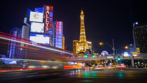 Las Vegas strip in manual mode with longer shutter speed effect