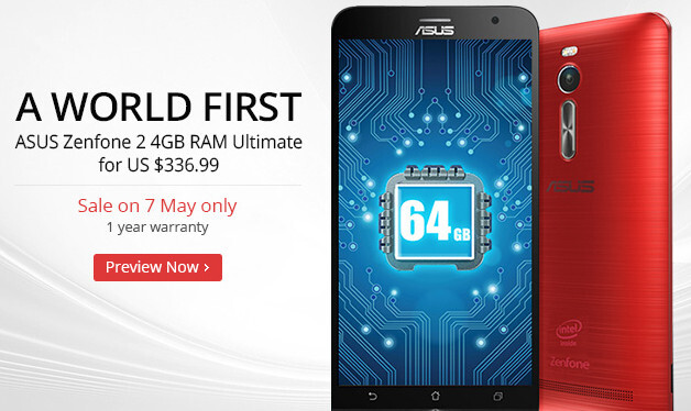 Flash sale: Zenfone 2 with 4 GB RAM and 64 GB storage to be priced $337 for a day