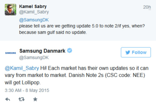 Samsung Denmark adds its two cents to the question about he Samsung Galaxy Note II Android 5.0 update