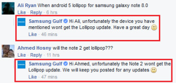 Samsung Gulf says no Lollipop update for the Samsung Galaxy Note 8.0