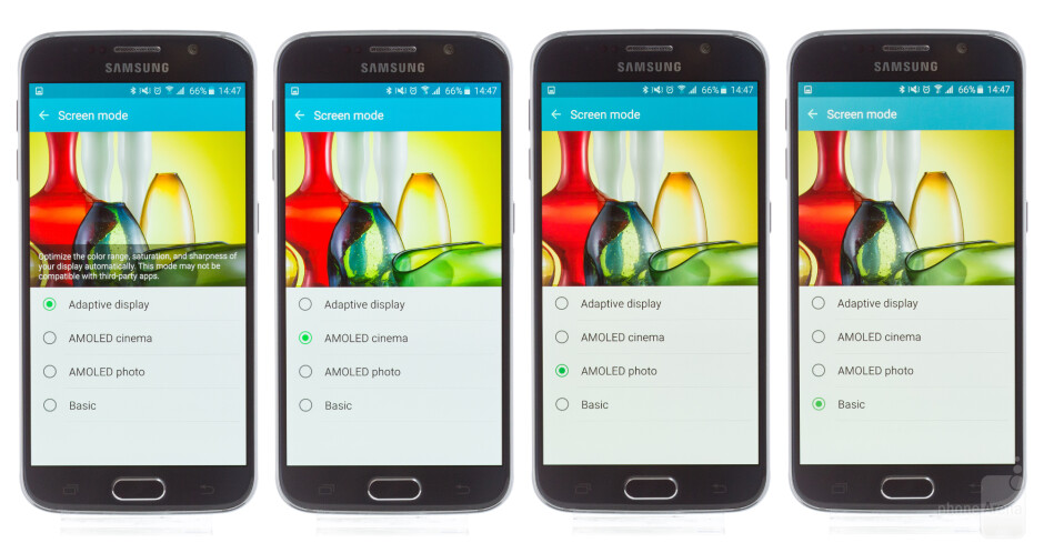 Color differences between the four display modes of the Galaxy S6. - Living with the Samsung Galaxy S6, week 1: The cool embrace of metal-on-glass