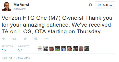 HTC's Versi says the Verizon version of the HTC One (M7) will be Lollipopped starting on May 14th - Verizon's HTC One (M7) to start receiving Android 5.0 on May 14th