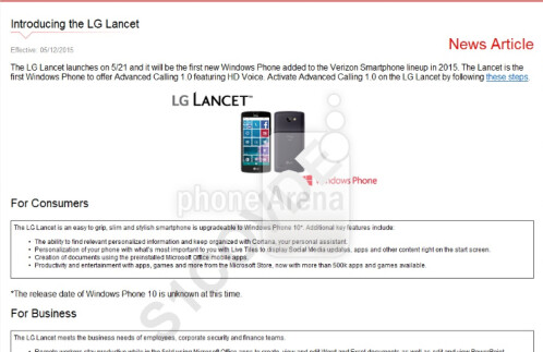 LG Lancet to launch May 21st as Verizon's next Windows Phone