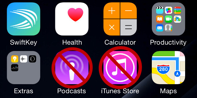 How to hide the icons of the Podcasts and iTunes Store apps on your iPhone or iPad