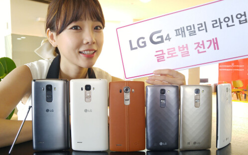 From left to right - LG G4 Stylus, LG G4, LG G4c.