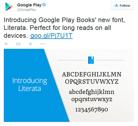 Tweet from @GooglePlay contains new Literata font - Google changes default app on Google Play Books to improve the reading experience